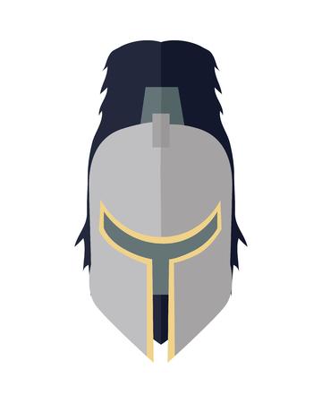 Steel ridder s helm in flat. Cartoon middeleeuwse helm. Pantser van de ridder. Staal middeleeuws pantser. Militaire middeleeuwse icoon. Game object in plat design op een witte achtergrond. illustratie