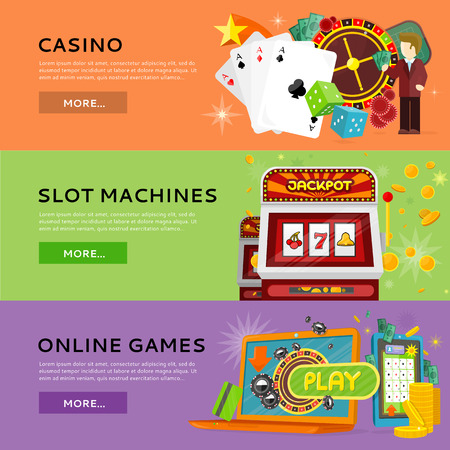 roulette online: Set of gambling banners. Flat style. Casino, slot machines, online games horizontal conceptual illustrations for virtual gamble and entertainments services web page design.