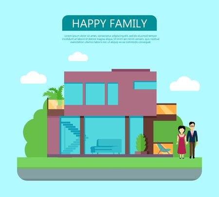 happy family at home: Happy family in the yard of their house. Home icon symbol sign. Colorful residential cottage with green bushes. Part of series of modern buildings in flat design style. Real estate concept.