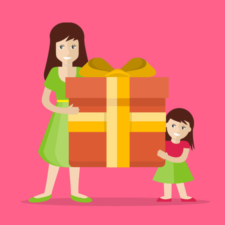 father s day: Giving present. Smiling woman and small girl standing with gift box decorated ribbon, bow flat illustration isolated on pink background. Birthday, valentine, christmas, father s day celebrating