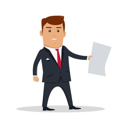 personaggio maschile con foglio di carta. Design piatto. L'uomo in giacca e cravatta in piedi e tenendo foglio di carta bianca chiaro. Ad, offerta di lavoro, il concetto di lavoro di carta. Uomo d'affari con documento. Su bianco.