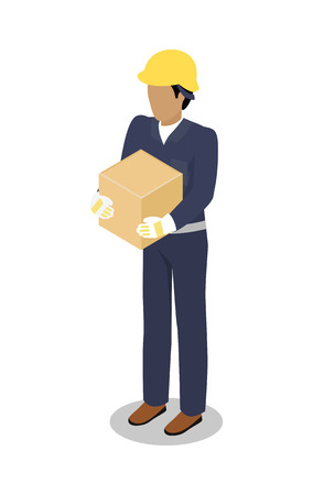 responsibility: Cargo Handler in yellow helmet with container isolated. Dock worker responsible for loading, unloading, sort and handle freight on trailers in safe and timely manner. Delivery service man icon. Illustration