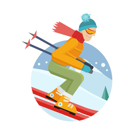 mountainside: Skier on slope illustration. Flat design. Man in ski suit sliding from hill with slalom flags. Winter entertainments, outdoor activity and sport. Extreme slalom. For mountain resort ad