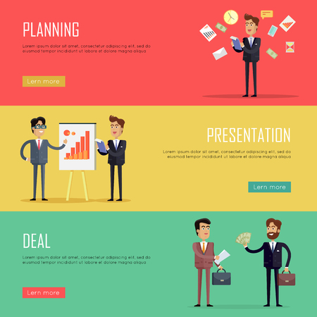 Set of business conceptual web banners. Vectors with businessman at work in flat style. Planning, presentation, deal horizontal illustrations on color backgrounds for companies web pages design. Illustration