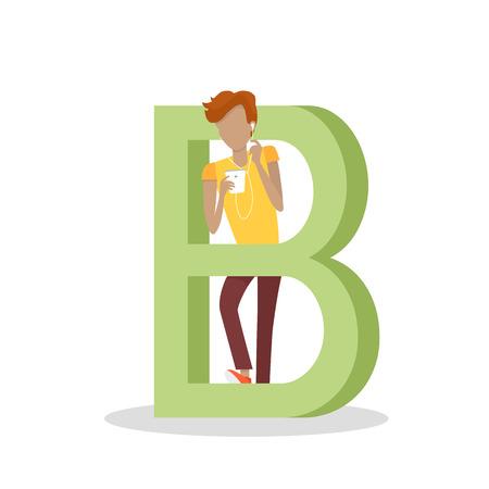socializando: letra B y muchacho se coloca y escucha música en el teléfono móvil. Red social. Alfabeto con imágenes de dibujos de personas que utilizan modernas tecnologías informáticas para la comunicación. Diseño plano. vector ABC