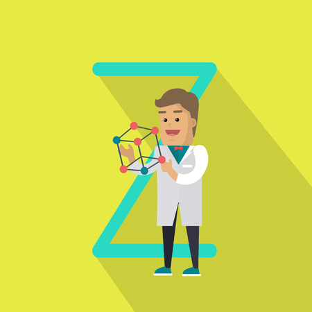 glossary: Science alphabet vector concept. Flat style. ABC element. Scientist man in white gown standing with atom structure in hand, letter Z behind. Educational glossary. On yellow background with shadow