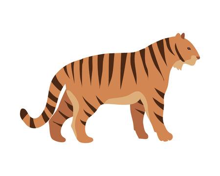 Tiger Panthera tigris cartoon isolated on white. Largest cat species, most recognisable for pattern of dark vertical stripes on reddish-orange fur with lighter underside. Sticker for children. Vector Illustration