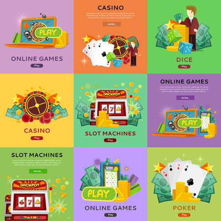online roulette: Casino, slot machines, dice, poker and online games banners. European roulette wheel, chips, croupier, craps dice, slot machine and playing cards on color background. Banner for online casino Illustration