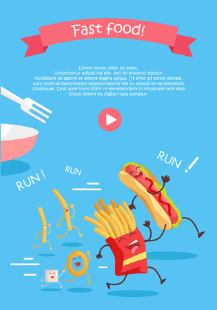 Fast food cartoon characters banner. Happy fast food cartoon characters running away from fork. French fries and hot dog cartoon characters on blue background. Animated food in flat. Illustration