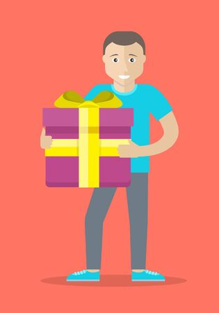 Giving present concept. Smiling man standing with gift box decorated ribbon and bow flat vector illustration isolated on red background. Birthday, valentine, christmas celebrating. For greeting card Illustration