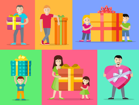 birthday presents: Happy peoples with presents. Smiling man, woman, kids, family standing with big gift box decorated ribbon and bow flat vectors. Birthday, valentine, christmas celebrating