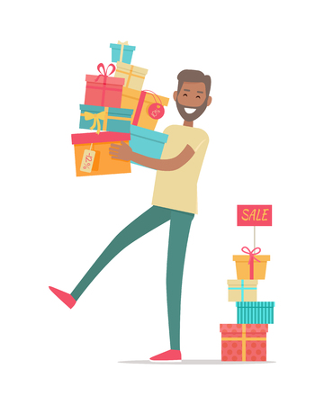 holiday gifts: Buying gifts on sale. Smiling man standing with presents in color boxes with discounts percents on tags flat style vector isolated on white background. Holiday shopping in supermarket. For store ad Illustration