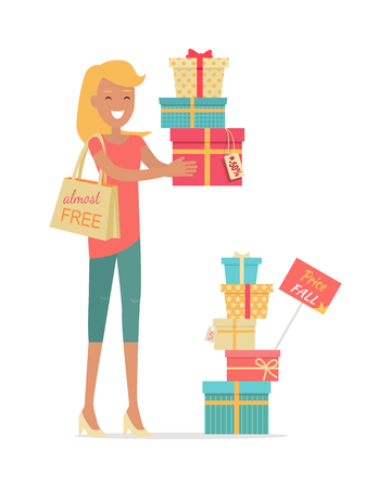 holiday gifts: Buying gifts on sale. Smiling woman standing with presents in color boxes with discounts percents on tags flat style vector isolated on white background. Holiday shopping in supermarket. For store ad Illustration
