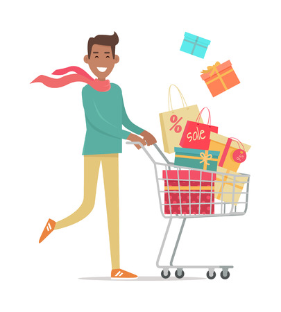 young black man: Buying gifts on sale. Smiling man carrying on shopping cart gift boxes with discount percents tags flat vector illustration isolated on white background. Holiday purchases in supermarket. For store ad