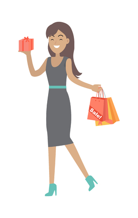 Woman buys presents at discount price. Big sale concept. Sale of household appliances, cosmetics, jewelry. Lady holds paper bags in hand. Winter, spring, autumn, summer sale. Vector in flat style