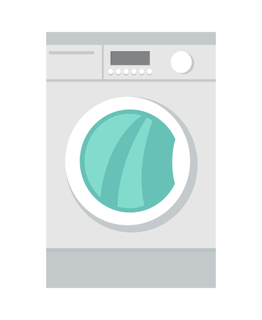 clothes washer: Washing machine in flat style isolated. Household appliances. Electronic device. Home appliances. Laundry, washing, washing machine. Electric clothes washer. Washer skid. Vector illustration Illustration