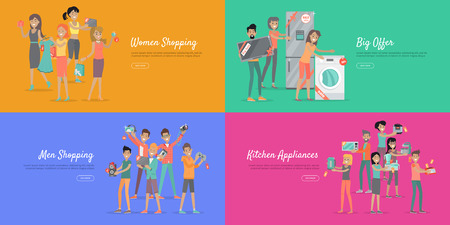 percentage: Shopping with discounts web banners set. Group of smiling men and women standing with goods purchased on sale flat vector illustrations on color backgrounds. For store promotions landing page design