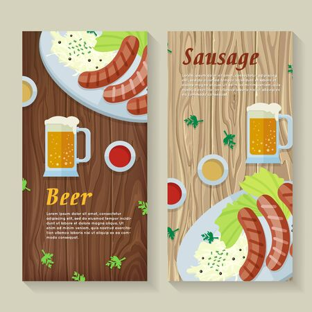 pint: Sausage and beer web banners. Grilled Bavarian sausages on plate with garnish, sauce and pint of beer flat vector on wooden background. German national cuisine. Oktoberfest. For restaurant web page