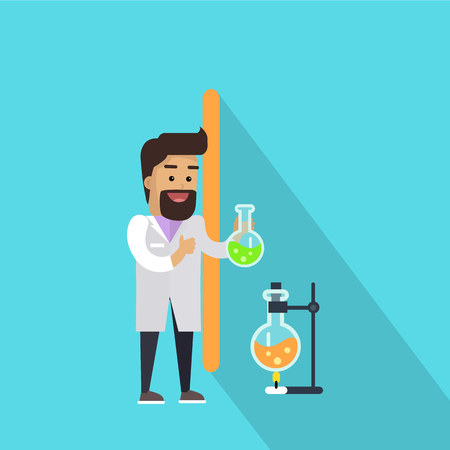 lab test: Science alphabet. Letter - I. Scientists working in chemical laboratory with test tubes. Simple letters and scientist character. Scientific research, science lab, science test, technology illustration