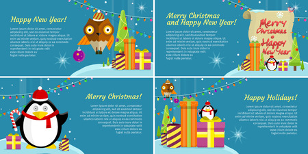 happy web: Set of web banners. Merry Christmas and Happy New Year Merry Christmas Happy New Year Happy Holidays Posters, Xmas greeting card, winter season holiday celebration. Vector in flat style design Illustration