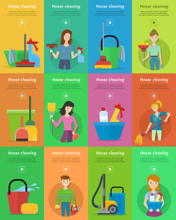 home equipment: Set of house cleaning banners. Man and woman with cleaning equipment and detergent. House cleaning service, professional office cleaning, home cleaning illustration in flat. Vertical website template