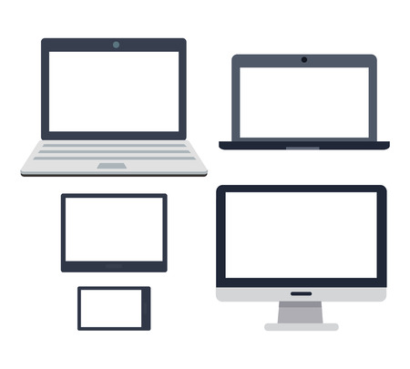 trackpad: PC devices set. Collection of realistic monitors. Laptop tablet and phone, map-case. Editable items in flat style for web design. Part of series of accessories for work in office. Vector illustration