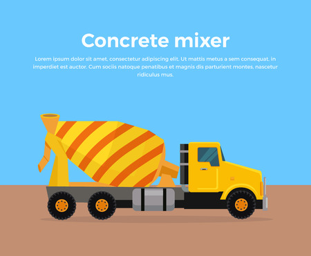Cement Mixer Truck vector banner. City building concept in flat design. Construction machines. Transport and moving materials, earthworks illustration for advertise, Infographic, web page design.
