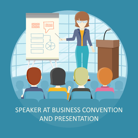 convention: Business lecture concept vector. Flat design. Speaker at business convention and presentation. Certification training in office. Illustration for educational companies, career courses ad.