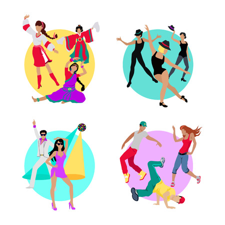 traditional events: Set folk dance, jazz dance, disco or electric dance, street dance. Dancing music, event party, people boy and girl, art show performance, sound lifestyle, musical nightlife in flat design. Vector