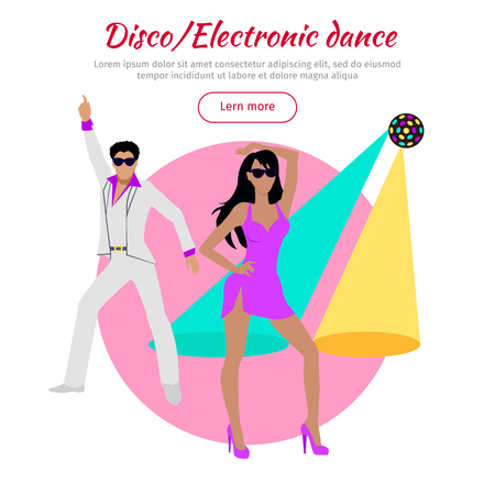 Disco and electronic dance conceptual banner in flat design. Dance music,club music. Party and dancer, couple and entertainment, event fashion, music nightlife and popular leisure illustration. Vector Illustration