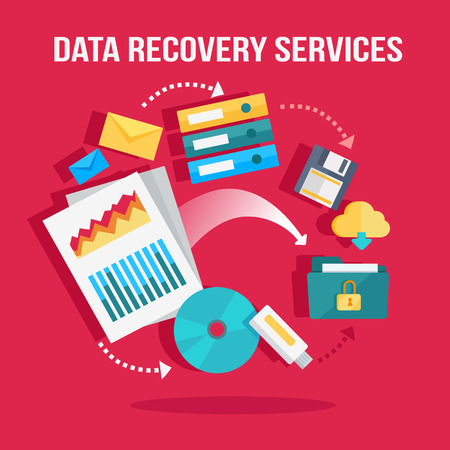 data recovery: Data recovery services banner. Networking communication and data carriers icons on red background. Data protection, storage service and online cloud storage, security and privacy, safety and backup. Illustration