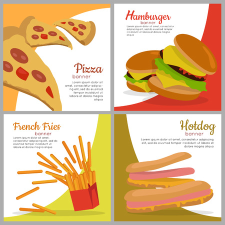 american food: Set of banners with unhealthy food. Pizza Hamburger French Fries Hot dog. Junk food. Consumption of high calories nourishment fast food. Part of series of promotion healthy diet and good fit. Vector