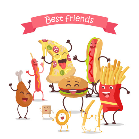 fried: Best friends, food banner. Happy fast food cartoon characters rejoice and dance. French fries, hot dog, pizza, cola, hamburger, fried eggs, chicken leg and bacon cartoon characters. Animated food.