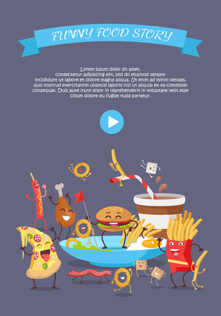 ready cooked: Funny fast food web banner. Smiling and dancing hamburger, french fries, pizza, sausage, chicken, onion rings. Flat illustration with cartoon characters for restaurant landing page. Order food online Illustration