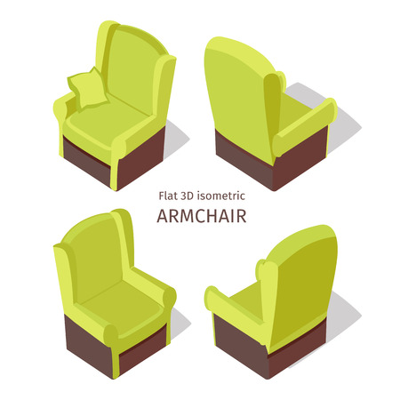 Green armchair vector on four sides in isometric projection. Comfortable furniture  illustration for stores advertising, app icons, infographics, logo, web and games environment design. Isolated on white background