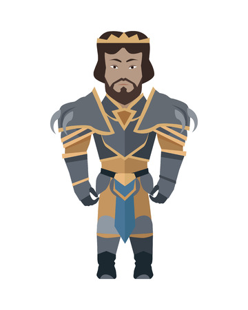 Game object of knight in steel medieval armor with crown. Character stand in front. Stylized fantasy characters. Game object in flat design on white game background. Vector illustration. Illustration