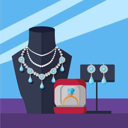 Jewelry shop banner. Store mannequin in jewelry shop with necklace. Counter jewelry in store window. Golden and silver jewelry at showcase of store. Vector illustration in flat Illustration