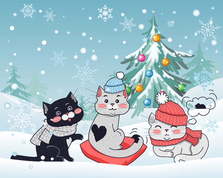 warm cloth: Happy winter friends. Three little cats in big red hat, scarfs, heart shaped pillow. Funny kittens wearing warm cloth. Winter landscape with cartoon characters. Small feline in flat design. Vector