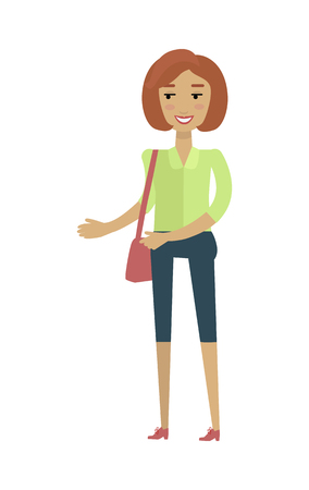 breeches: Young european woman in green blouse and blue breeches with leather bag. Caucasian beautiful girl. Attractive teenager lady in casual clothes. Part of series of people of the world. Vector illustration Illustration