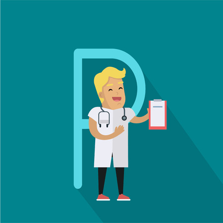 lab test: Science alphabet. Letter - P. Scientists medic with stethoscope and tablet. Simple colored letters and scientist character. Scientific research, science lab, science test, technology illustration