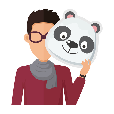 animator: Man without face in glasses with panda mask isolated on white. Boy in sweater and scarf with carnaval festival mask for children. Funny cartoon masquerade masque. Animator userpic avatar. Vector