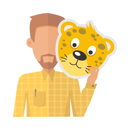 animator: Man without face with tiger mask isolated on white. Boy in shirt and beard with carnaval festival mask for children. Funny cartoon masquerade masque. Animator userpic avatar. Vector in flat style