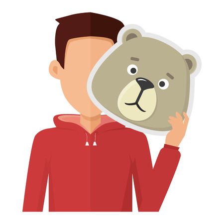 Man character in red sweatshirt with bear mask in hand vector. Flat design. Masquerade animal clothing and party costume. Psychological portrait and hidden personality. Isolated Illustration