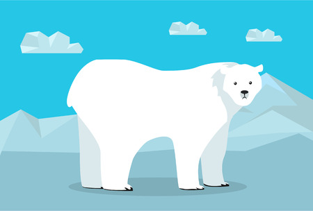 glacier: Funny polar bear on arctic glacier. Polar bear walking on ice. Animal adorable polar bear vector character. Charming polar bear. Wildlife character