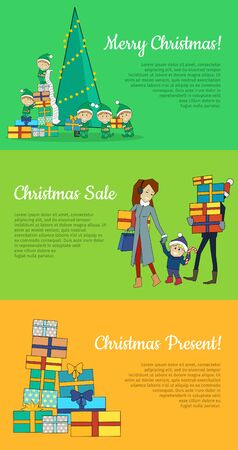 Set of Christmas web banners. Flat design. Merry Christmas, Christmas sale, Christmas present concepts with fairy elfs, shopping family, pile of gift boxes. For store seasonal sales and discounts page