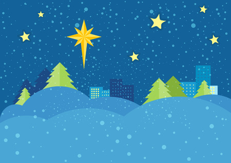 snowdrifts: Christmas night vector concept. Flat design. Starry sky with bright eight-pointed star of Bethlehem on snowy winter night, snowdrifts, spruce trees, city lights far. Winter holidays celebrating