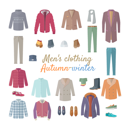 Men s clothing. Autumn winter collection. Stylish fashionable clothes from popular designers. Best world brands trends. New collection of shoes and outwear models. For store, boutique ad. Vector