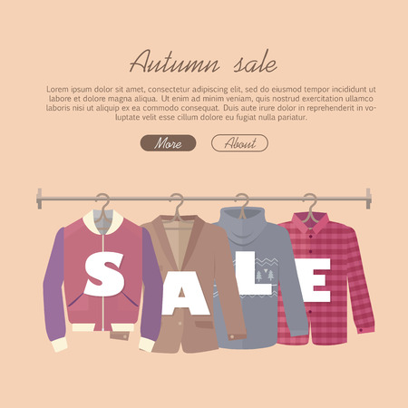 warm clothing: Autumn sale vector web banner. Flat design. Men s jacket, coat, sweater, warm shirt hanging on the hangers. Seasonal discounts in clothing store concept. For boutique promotions landing page design