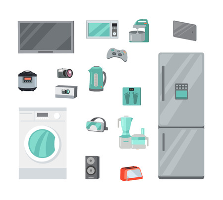 home equipment: Home Appliances for cooking, washing, entertainment. Technique for housekeeping flat vector illustrations isolated. Kitchen, gaming, music, electronic equipment set for stores ad