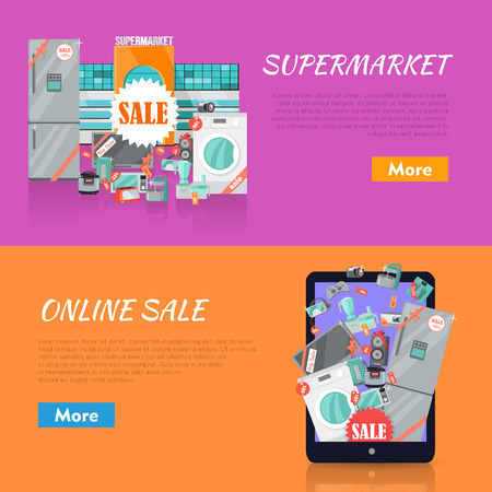 appliances: Sale in electronics store web banners set. Collection of home appliances with discounts stickers near store building and on tablet screen. Supermarket and online sale horizontal concepts for shop ad